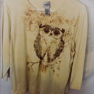 Chico's owl shirt. Size 3. Yellow with owl.